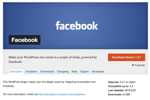 Facebook WordPress plugin